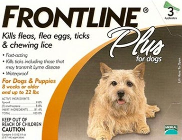 Frontline Flea and Tick Medication for small dogs up to 22 lbs