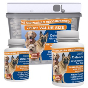 Glucosamine for dogs - Osteo-Pet Glucosamine for dogs with EFAs and MSM | 60ct, 180ct and 720ct